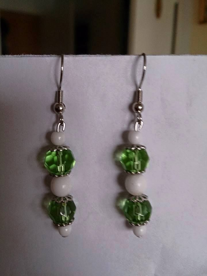 Green white earrings