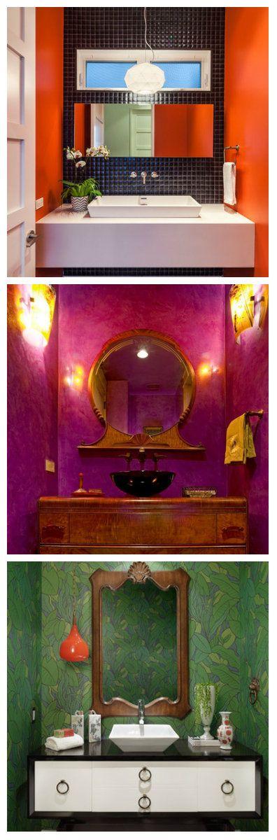 """Для тех кто не является поклонниками классических цветов в оформлении ванных комнат, предлагаем обратить внимание на следующие примеры. Здесь замечательно сохранен баланс между красивым эпатажем и броской безвкусицей.  Подобные идеи оформления достаточно сложны в исполнении, важно, не """"переборщить"""". Если стены окрашены в яркие броские цвета, следует подбирать спокойную классическую мебель и лаконичные светильники."""