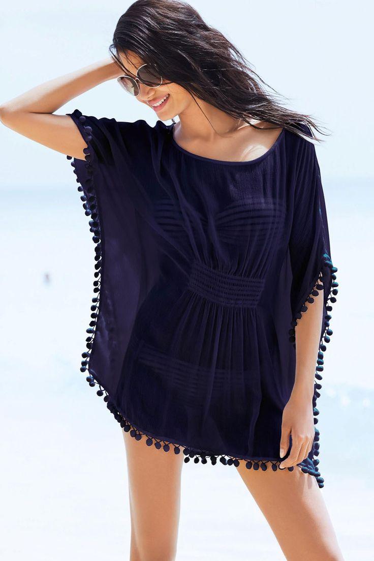 Aliexpress.com: Comprar Nuevo 2016 blanco bordado de gasa caftán traje de baño cubre sube Beach Kaftan túnicas, Pom Pom recortar playa pura encubrir vestido E41537 de vestido de tamaño fiable proveedores en Success Method Limited