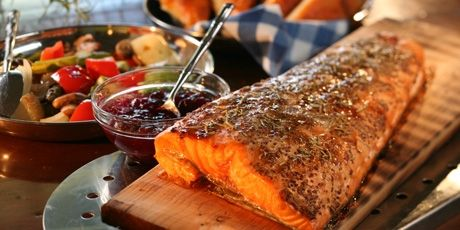 BBQ Salmon on a Plank with Foccacia and Grilled Veggies