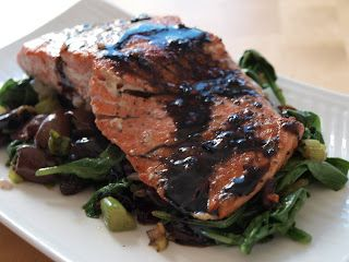 Balsamic-Glazed Salmon with Spinach, Olives, and Golden Raisins | Fish ...