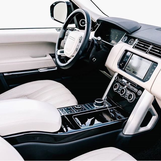 Range Rover interior in black and white