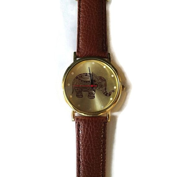 Brown Elephant Leather Watch Gift for Daughter by BriAndAshStore
