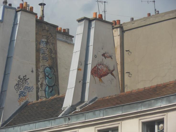 street art sui tetti di parigi
