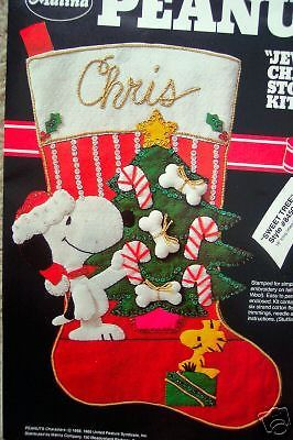 PEANUTS-Felt-Applique-Christmas-Stocking-Kit-SWEET-TREE-Snoopy-Schulz-Size-18