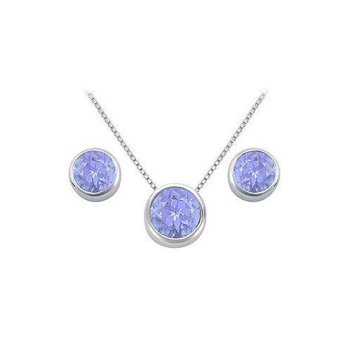 Tanzanite Pendant and Stud Earrings Set in Sterling Silver 2.00 CT TGW