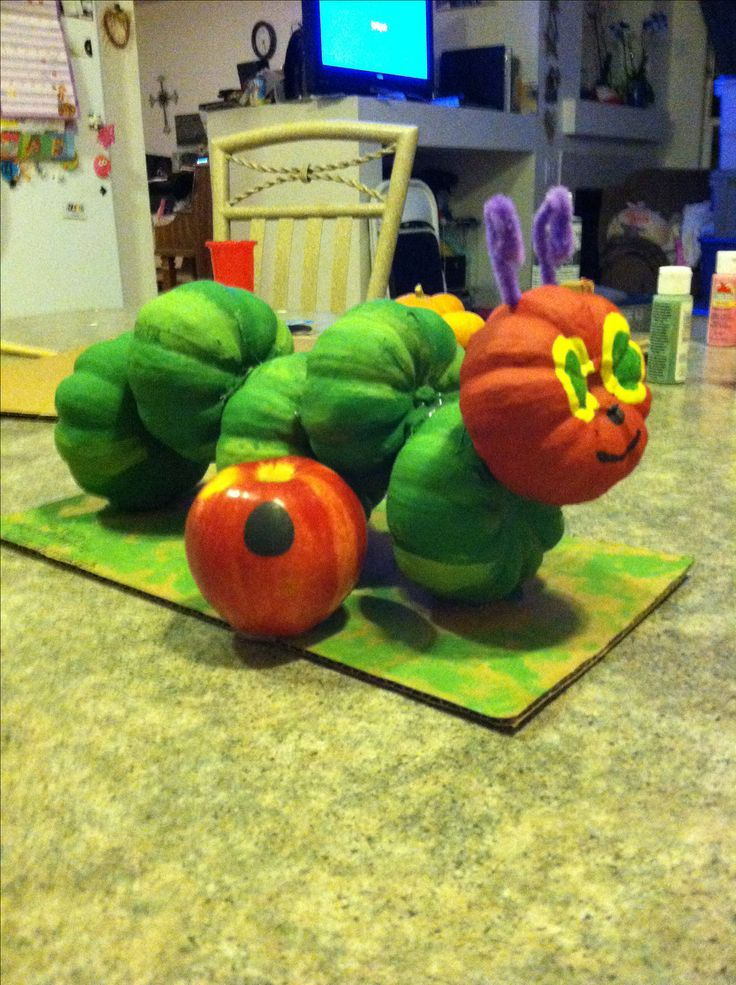 Storybook character pumpkin. The Very Hungry Caterpillar.