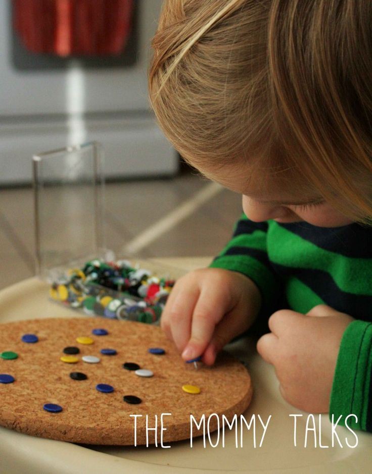 """Cork board & drawing pin fine motor play from The Mommy Talks ("""",)"""