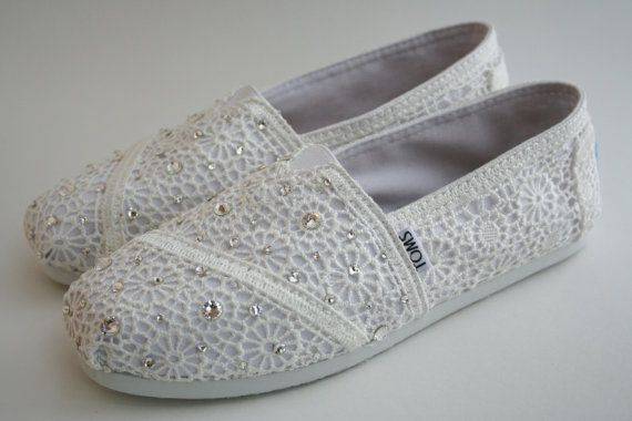 TOMS Wedding Shoes White Crochet with by NakitaJaneDesigns on Etsy, $98.00