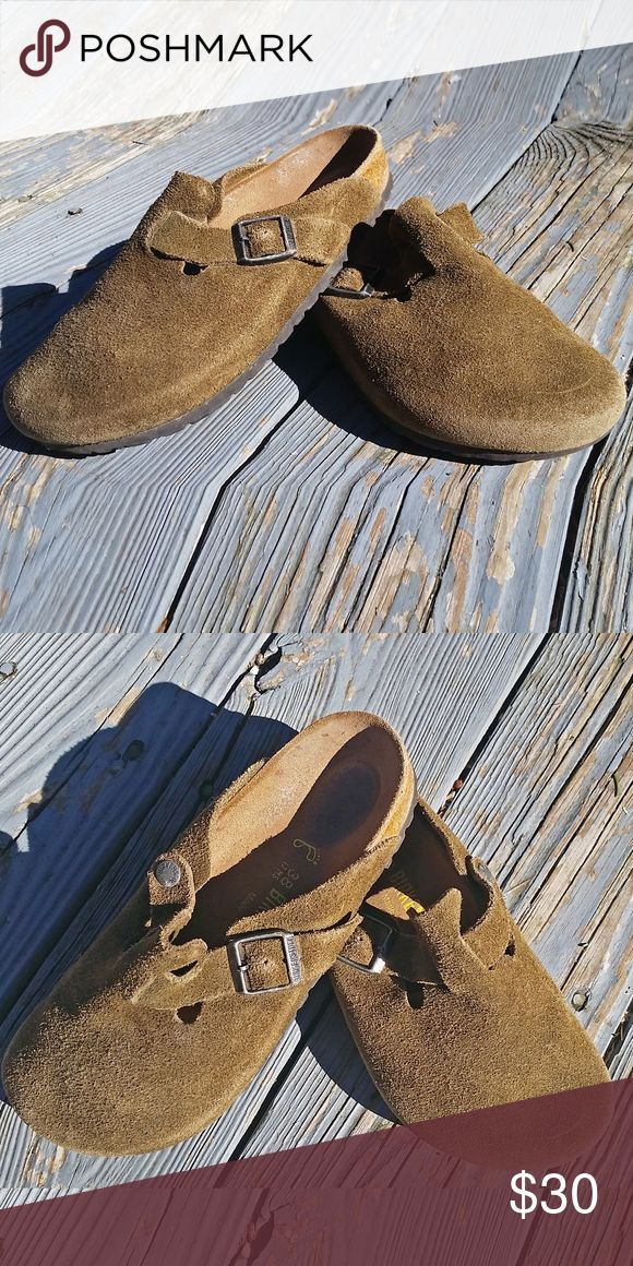 Birkenstock Boston Suede Green 7.5 Only worn a few times, in great condition, like new! Birkenstock Shoes Mules & Clogs