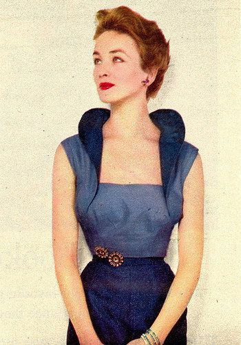 1952 Fab glam unique vintage fashion style early 50s sheath dress blue silk unusual high collar design sleeveless model magazine
