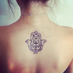 Mandala Hand Grey Ink Tattoo On Back
