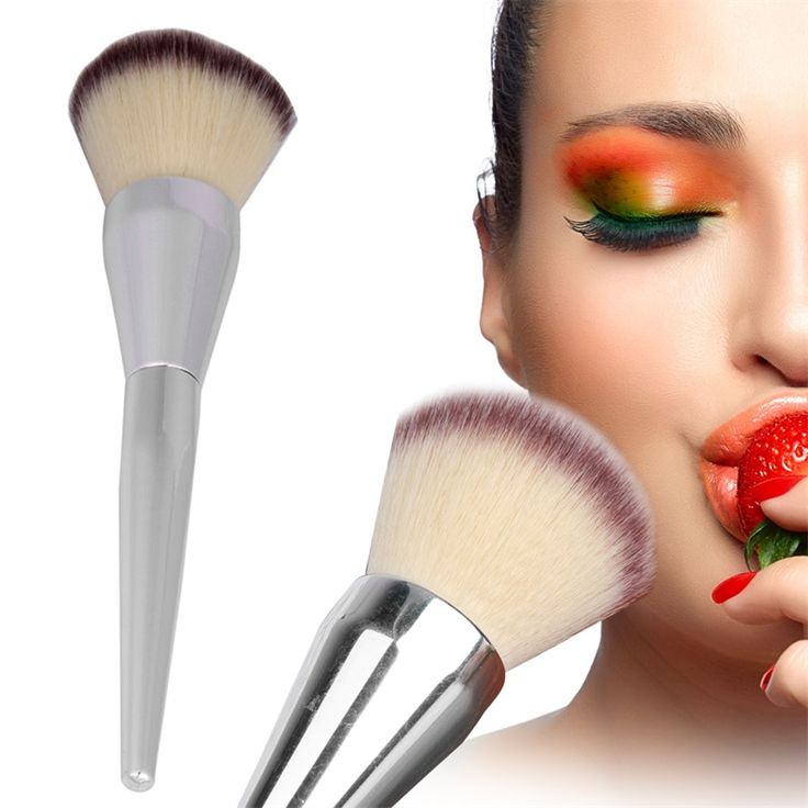 1pcs Hot Sale Face Makeup Blush Powder Silver Color Handle Cosmetic Large Make Up Brushes