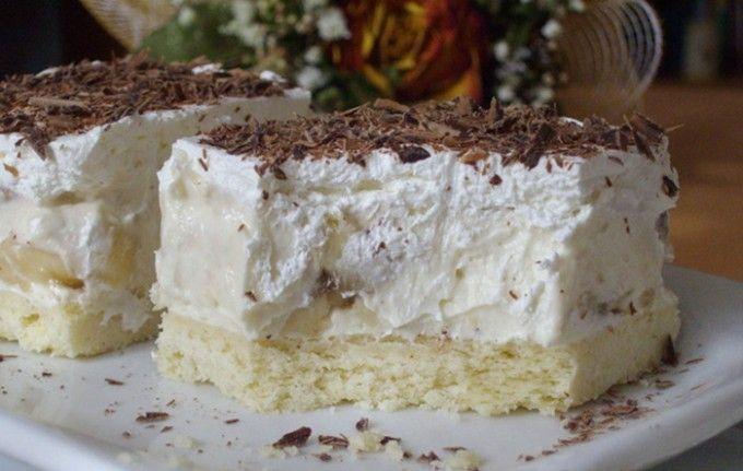 Banánové řezy s vanilkovým krémem | NejRecept.cz