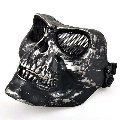 New Hot Black Airsoft Full Face Protect Death Skull Safety Mask Zoom Enlarge Sell one like this Black Airsoft Full Face Protec