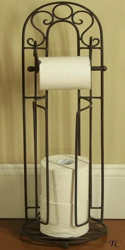 Tuscan Wrought Iron Toilet Paper Holder Stand - I need this for my bathroom!