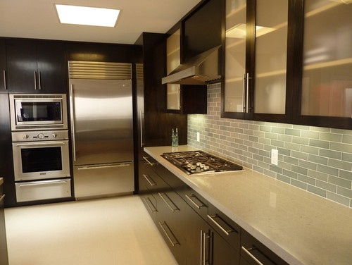 Stainless steel appliances, caesarstone counteers, dark cabinets for warm modern atmosphere