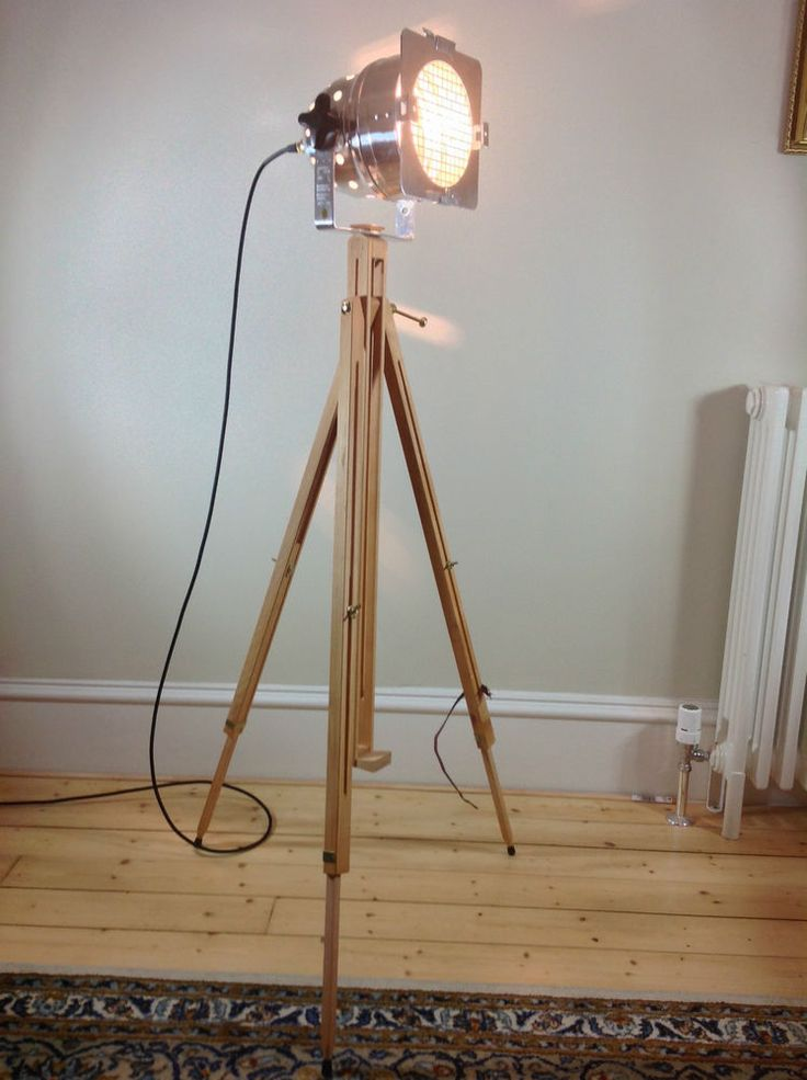 Polished Theatre/Stage light + Wooden Tripod  -Industrial/Retro Chic -Floor Lamp