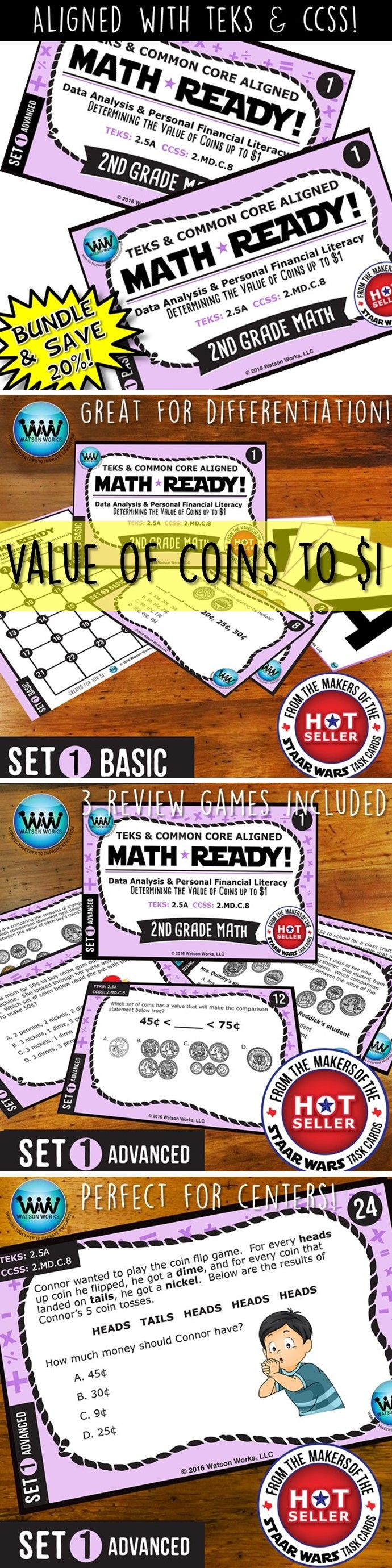SAVE 20% WHEN YOU PURCHASE THIS BUNDLE (includes both our Basic & Advanced MATH READY Determining the Value of Coins up to $1 Task Cards sets)! Both sets include 24 task cards w/ multiple choice answers. The BASIC set helps your students practice & apply their understanding of counting coins at a simpler, basic level with shorter questions, while the ADVANCED set features more rigorous, higher-level thinking questions w/ longer word problems, making them great for differentiation. $4.78