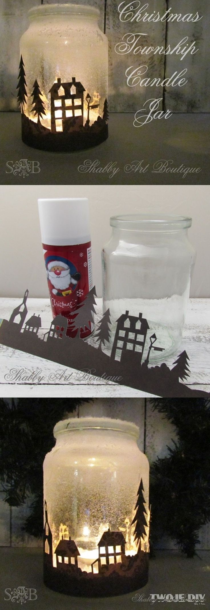 Christmas Township Candle Jar: Quick and easy candle jar that will look amazing when illuminated at night. For the instructions click on From shabbyartboutique.com on the right hand side of the page.