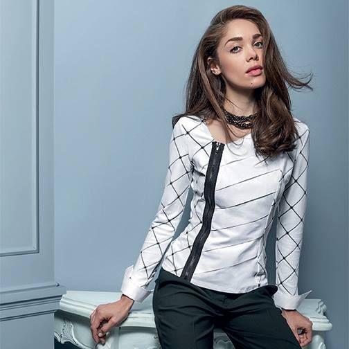 Side zip diagonal jersey shirt #NaraCamicie #Nara #Collection #Winter #Autumn #Elegant #Fashion #Clothes #Style #Class