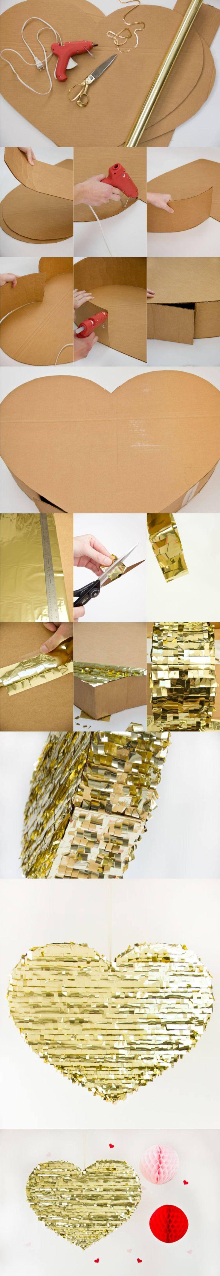 Corazón dorado para decorar en Nochevieja - DIY Gold Piñata -studiodiy.com