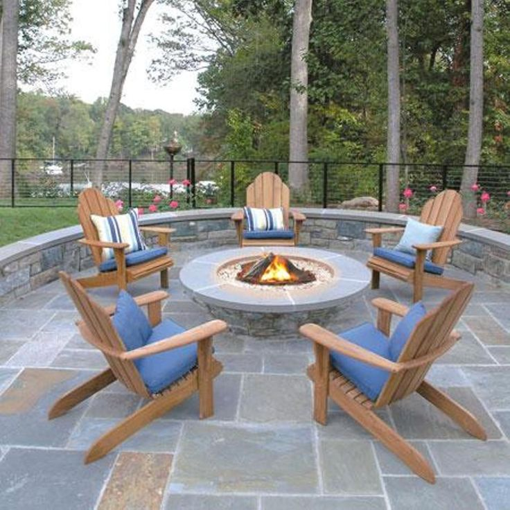 Garden And Lawn , Outdoor Adirondack Chairs : Teak Adirondack Chairs With Cushions And Fire Pit