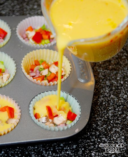 Mini Omelet Muffins {Gluten Free} 12 eggs (beaten and seasoned with salt and pepper) diced ham bacon green onions red bell pepper mushrooms shredded cheddar cheese