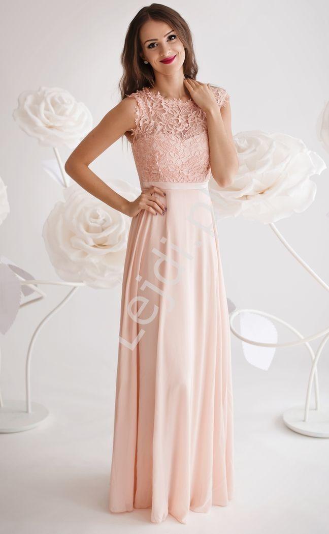 90440b6781 Sukienka dla druhny z gipiurową koronką na biuście