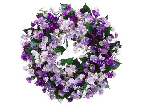 Faux 19 Sweetpea Wreath Purple Lavender