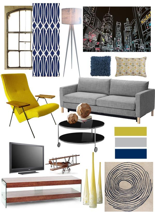 Yellow And Gray Living Room Decor: Navy Yellow Grey Living Room