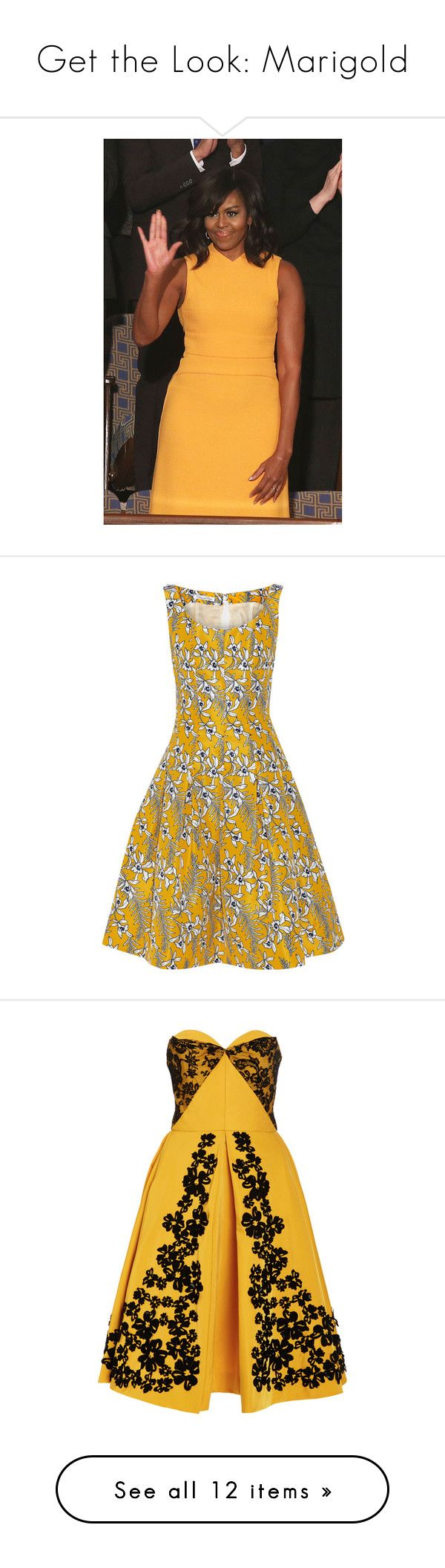 """Get the Look: Marigold"" by polyvore-editorial ❤ liked on Polyvore featuring marigold, SOTU, dresses, yellow, white satin dress, white floral print dress, yellow pleated dress, white pleated dress, floral fit and flare dress and strapless dress"