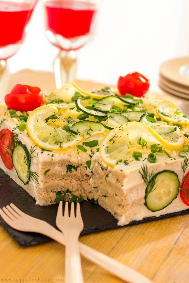 Savory Tuna Sandwich Cake (Smörgåstårta) - Luxury Scandinavian Sandwich Cake | happyfoodstube.com