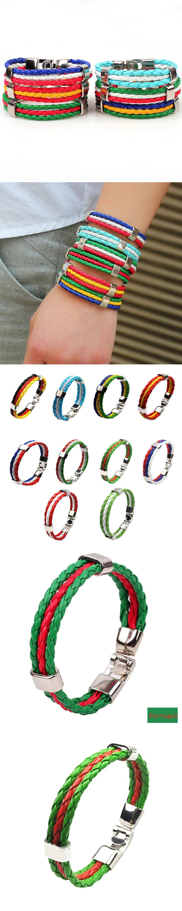 2017 Hot European Cup Bracelet Portuguese flag colors woven leather bracelet Portugal Bangle great gift for Portugal cheer!