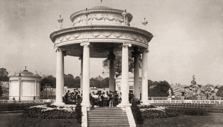 The bandstand at the Crystal Palace for the Festival of Empire. Image from satiche.org