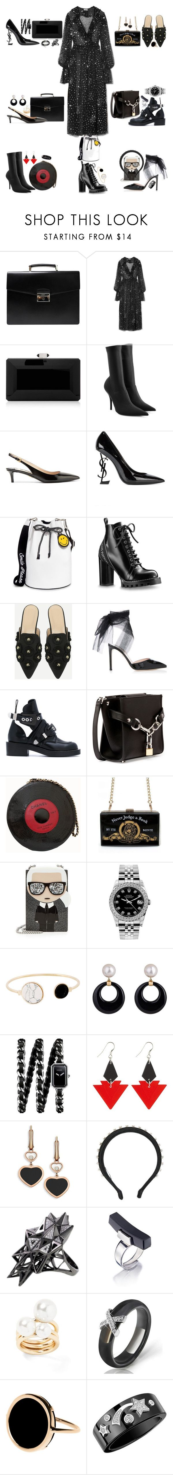 """All you need is black ♠️"" by shpurikova ❤ liked on Polyvore featuring Prada, Ashish, Judith Leiber, Balenciaga, Yves Saint Laurent, Joshua's, Alexander Wang, Chanel, Karl Lagerfeld and Rolex"