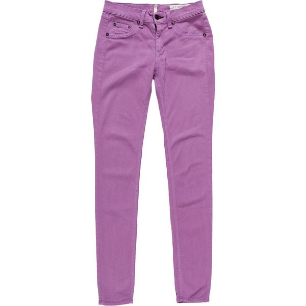 Pre-owned Rag & Bone Mid-Rise Skinny-Leg Pants (74,310 KRW) ❤ liked on Polyvore featuring pants, purple, super skinny pants, mid rise pants, skinny fit pants, skinny trousers and purple skinny pants
