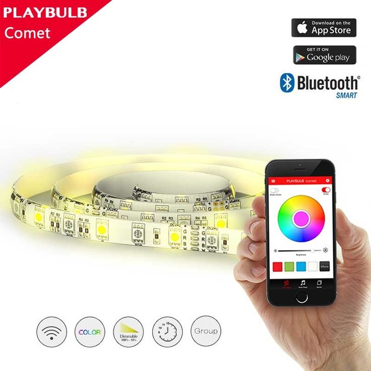 (56.91$)  Know more - http://ai6zj.worlditems.win/all/product.php?id=32795073495 - PLAYBULB Comet MIPOW smart LED strip 2m/120LEDS Bluetooth connect App control RGB Color Changing Christmas Light Home decoration