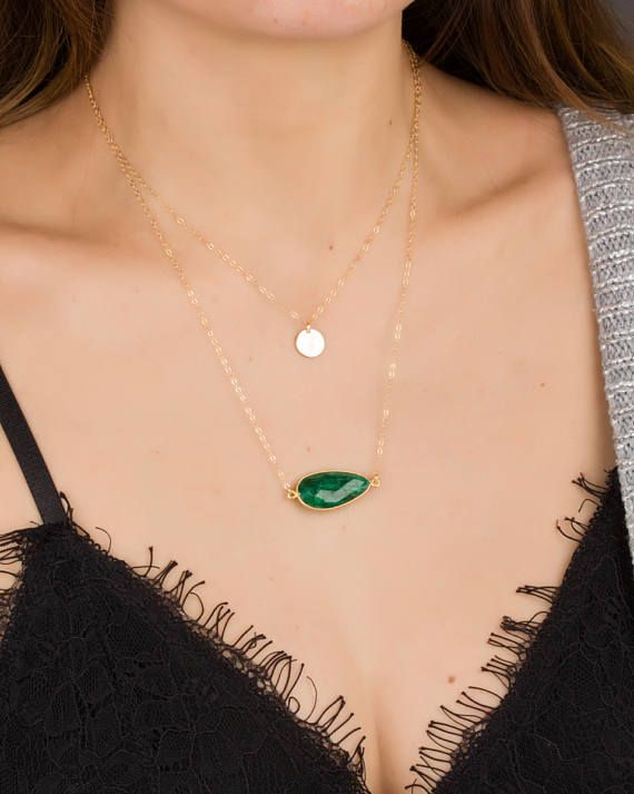 Emerald Necklace Emerald Jewelry May Birthstone necklace