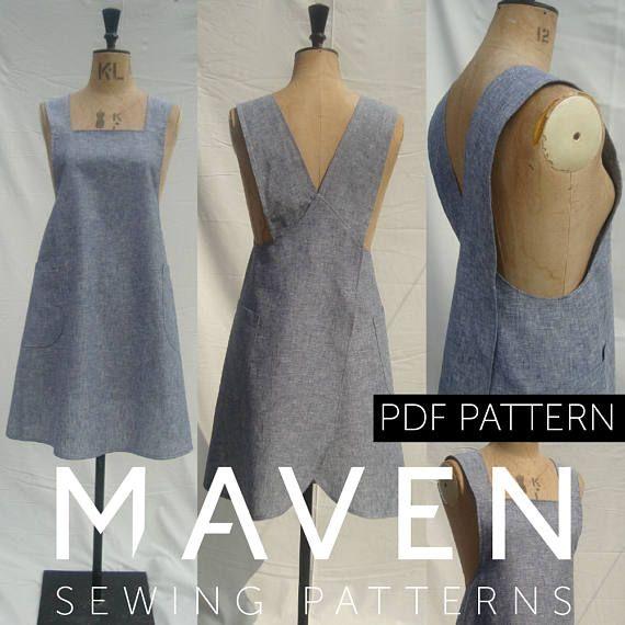 The Maria Wrap Apron PDF sewing pattern Japanese apron