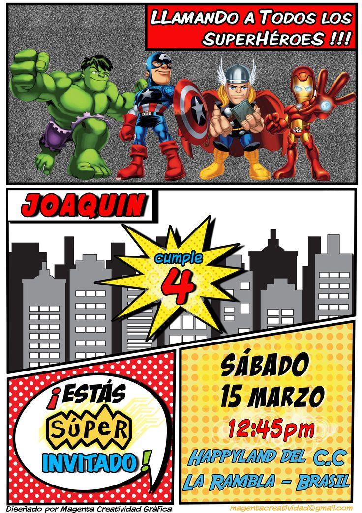 Tarjeta de Invitación para cumpleaños de niño de 4 años. Temática : Avengers! Invitación para facebook Superheroes, para enviar por correo, para imprimir o para ponerlo en recepción del salón.