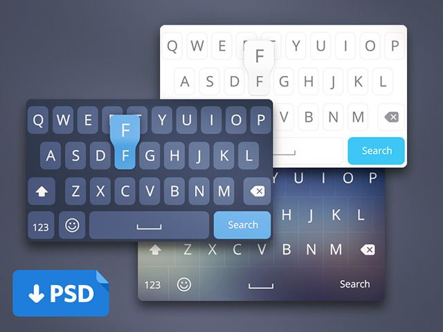 Here's a series of custom iOS8 keyboadrs created with Photoshop vector shapes. Free PSD released by Virgil Pana.
