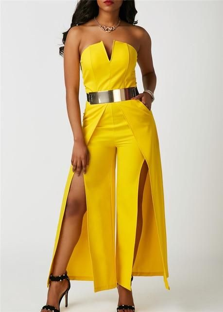 3527cfe20a55 Elegant Evening Strapless Jumpsuit One Piece Long Pants Romper Thigh High  Split Special Occasion Yellow White Wide Leg Jumpsuits