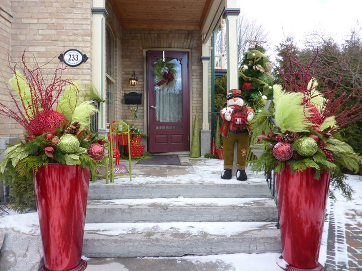 Christmas Decorating Ideas For Outdoor Urns : Images about christmas winter pots on