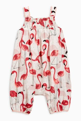 Buy Cream Flamingo Printed Romper (0mths-2yrs) from the Next UK online shop