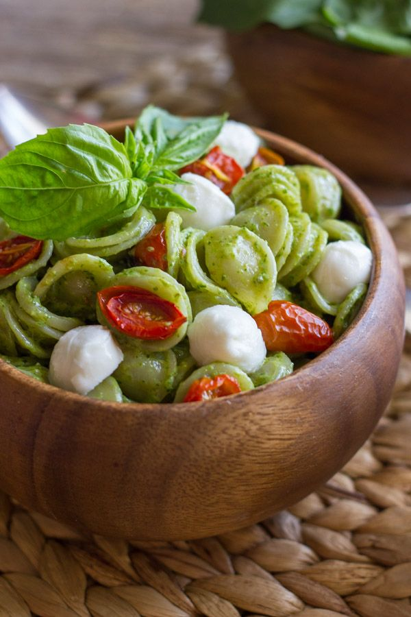 The classic Caprese pasta salad flavor combination of tomato, basil, and mozzarella.