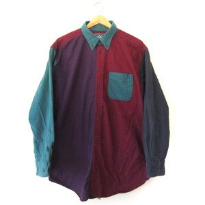 90s COLOR BLoCK Woolrich Button Up // Abstract XL Fuzzy Flannel Shirt // Hip Hop Throwback