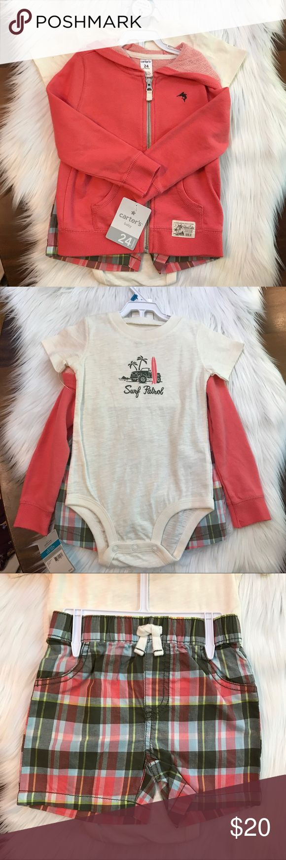 """Carter's 3 Piece Shorts Hoodie Bodysuit Set Surf This is an adorable 3 piece boys set. It features a cozy watermelon colored hoodie, preppy plaid shorts, and a cool surfing themed """"Surf Patrol"""" onesie bodysuit. 100% cotton. Fits a baby 27.5-30 pounds, and 32.5-34 inches long. Carter's 24 month size is 18-24 months. Carter's Matching Sets"""