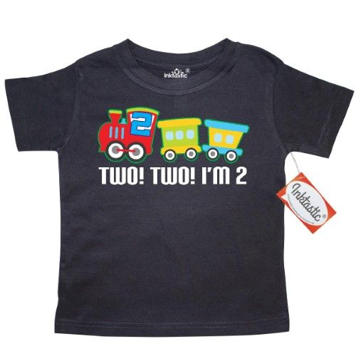Inktastic 2nd Birthday Two Two Train Outfit Toddler T-Shirt Second 2 Im Engine Boys Clothes Happy Cute Kids Year Old Party Tees. Gift Child Preschooler Kid Clothing Apparel Hws, Size: 2T, Black