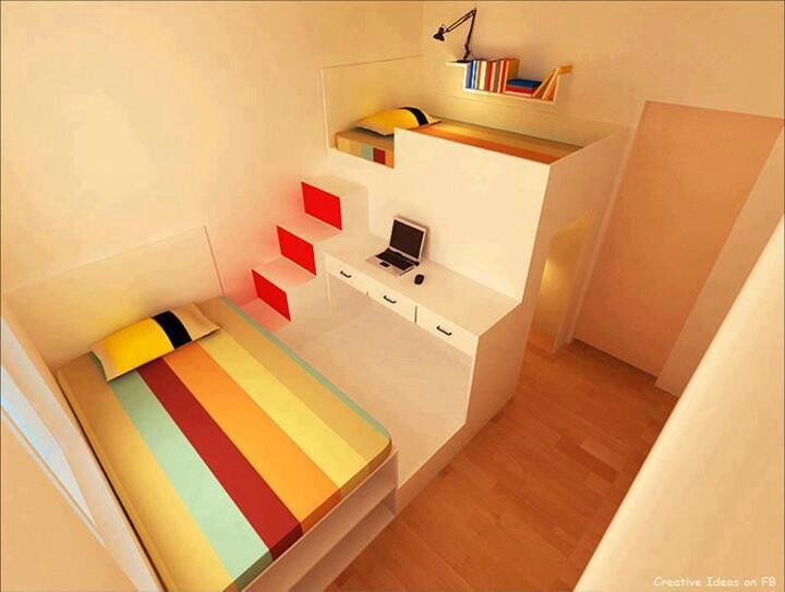 great use of space for 2 beds and 2 desks